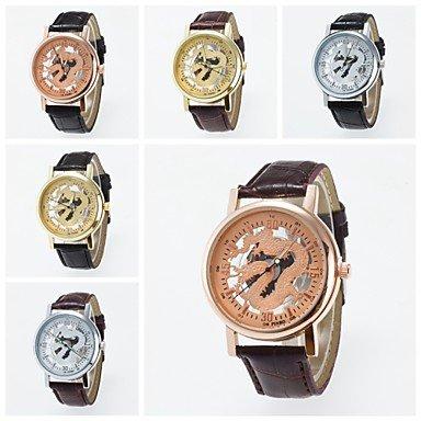 2016 neue Ankunft chinesische Konzept unisex Armbanduhr Drachen Skelett Armbanduhr Farbe Silber