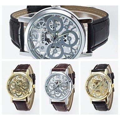 2016 neue Ankunfts Nachahmung mechanische anlog Unisex Armbanduhr Hohl dail Stil modische Armbanduhr Farbe Rotgold