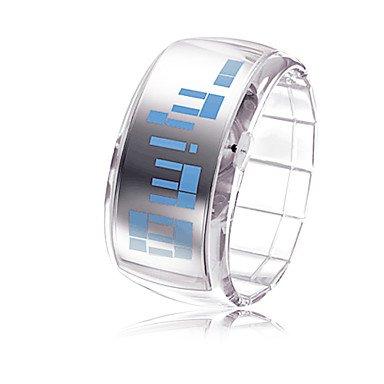 Armband Design Zukunft blaue LED Armbanduhr transparent weiss Farbe Weiss Grossauswahl Einheitsgroesse
