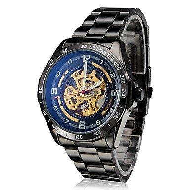 Maenner automatische mechanische hohlen Zifferblatt schwarz Stahlband Armbanduhr Farbe Schwarz Grossauswahl Einheitsgroesse