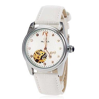 Frauen automatische Selbstwind hohle Herz Wahllederarmband Armbanduhr farbig sortiert Farbe Weiss