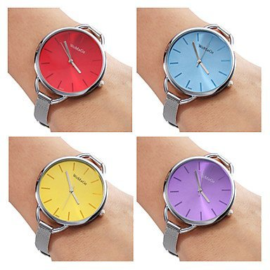 Damen Stahl Analog Quarz Armbanduhr Silber Farbe Violett