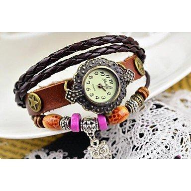 Damenmode bunten Holzperlen Panda Lederarmband Uhr verschiedene Farben Farbe Violett Geschlecht Fuer Damen