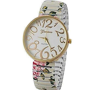 Damenmode Stil einfach waehlen Sie die elastischen Blumenband Quarz Armband Armbanduhren Farbe Weiss Grossauswahl Fuer Damen Einheitsgroesse
