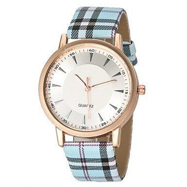 Damenmode Einfache Dial Plaid Muster PU Band Quarz Armbanduhr verschiedene Farben Farbe Weiss blau Grossauswahl Einheitsgroesse