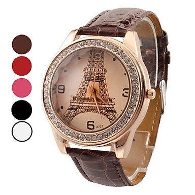 Damen Eiffel Tower Design PU Analog Quarz Armbanduhr Fashion Watch verschiedene Farben Farbe Weiss Grossauswahl Einheitsgroesse