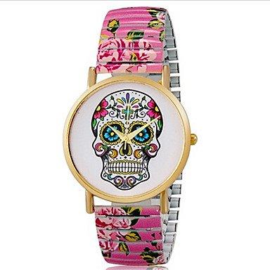 Europaeischen Stil Mode Druckfarbe Schaedel Stretch Armband Uhr der Frauen Farbe Rosa