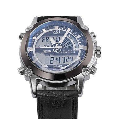 3 Farbdualzeit lcd datum Chronograph Alarm Lederband Mens Sport Kleid Handgelenk digtal Quarzuhr wasserdicht Farbe Blau