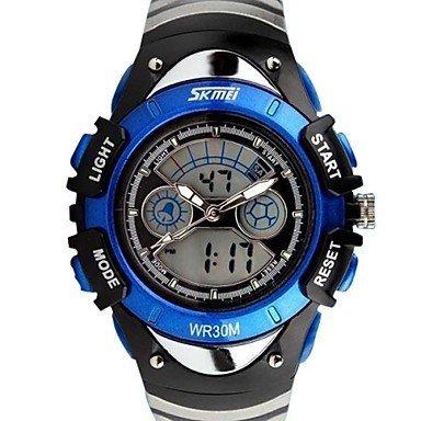 Fashion Kinder Dual Time Zone LED Digital Armbanduhr 30m Wasserdicht verschiedene Farben Farbe Silber Grossauswahl Einheitsgroesse