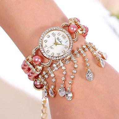 Yilisha Frauen glaenzende Armbanduhr Maedchen Perlenband runden Zifferblatt Quarz Kleid Schmuck Uhren Strass Anhaenger sehen Farbe Weiss Geschlecht Fuer Damen
