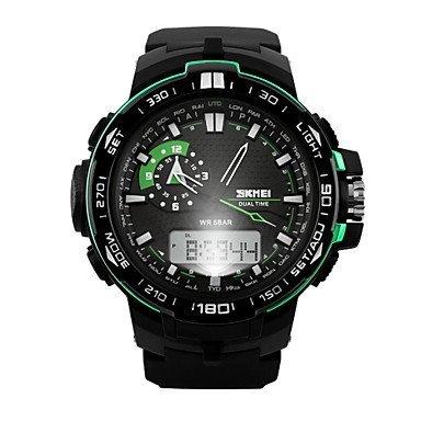 Herren Doppelzeit analog digitale Sportuhr Mode sportliche Armbanduhr Farbe Gruen Grossauswahl Einheitsgroesse