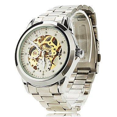 Herrenmode Skelett Zifferblatt schwarz Stahlband automatische Selbst Wind Armbanduhr farbig sortiert Farbe Silber Grossauswahl Einheitsgroesse