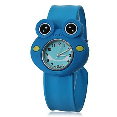 Kinder 3D Frosch Form Silikon Band Analog Slap Farbe Blau