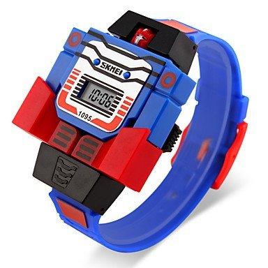 Kinderspielzeug digitale Uhr Montage Transformator Roboter Stil Armbanduhr Farbe Blau Grossauswahl Einheitsgroesse