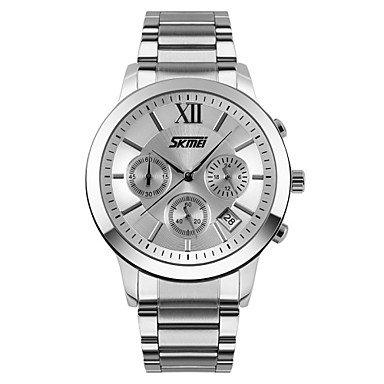 Maenner klassische Stoppuhr Uhr 3 Zusatzskalen japanische Quarz Edelstahl Farbe Silber Grossauswahl Einheitsgroesse