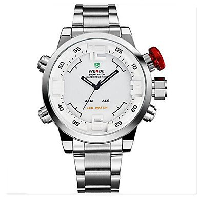 Weide Luxusmarke Multifunktions LED Dual Zeitzone Uhr Mode Militaer Sport Armbanduhr Farbe Weiss Silber Grossauswahl Einheitsgroesse
