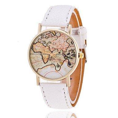 Mode Weltkarte Uhr relogio feminino Quarzuhren reloj mujer Farbe Weiss Grossauswahl Fuer Damen Einheitsgroesse