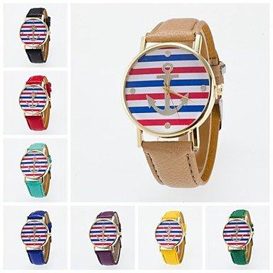 2016 neue Ankunft modische Freizeit Armbanduhr fuer Maenner und Frauen unisex spezielle Design Boot vor Anker auf dem Zifferblatt Farbe Weiss