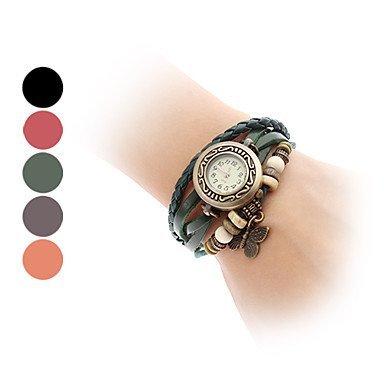 Schmetterlings Art Leder Analog Quarz Armband Uhr verschiedene Farben Farbe Rot Grossauswahl Einheitsgroesse