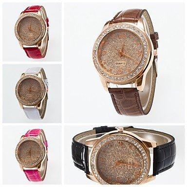 2016 spezielle Design Armbanduhr modische Armbanduhr mit Strass und bereift Wahl Uhr der Frauen Farbe Weiss