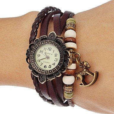 Frauen Steckenpferd Anhaenger Blumenkasten Lederband Quarz Analog Armband Uhr verschiedene Farben Farbe Braun