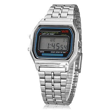 Unisex Multi Function LCD Quadratisch Dial Alloy Band Digitaluhr Silber Farbe Silber Grossauswahl Einheitsgroesse