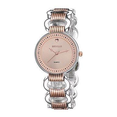 Weiqin Frauen hoehlen heraus silberne Rose Goldarmband Quarz Uhren Farbe Rotgold Geschlecht Fuer Damen