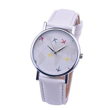 Weltkarte Uhr mit dem Flugzeug Uhren Frauen Maenner Stoff Uhrquarz relojes Denim mujer relogio feminino Farbe Weiss Geschlecht Fuer Damen