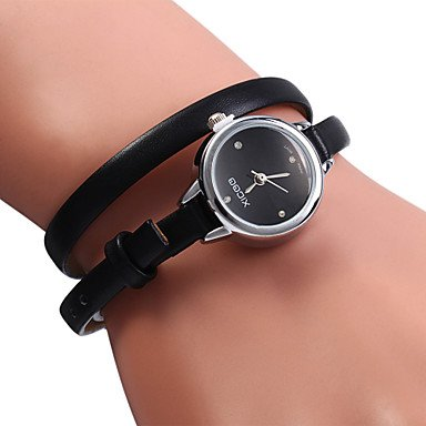 Xicoo 487 langen PU Band Frauen Diamant Quarz Uhr Farbe Schwarz