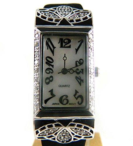 Atemberaubende Silber gekennzeichnet Deco Look Zirkonia und Emaille schwarz echtem Perlmutt Zifferblatt schwarz Lederband Armbanduhr New Box