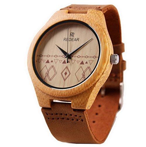 ACMEDE Damen Armbanduhr Analog Quarz Uhr Damenuhr Lederarmband aus Bambus Braun
