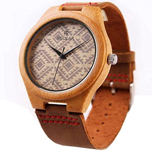 ACMEDE Damen Holzuhr Armbanduhr Quarz Uhr Holzarmbanduhr Damenuhr Lederarmband aus Bambus Braun