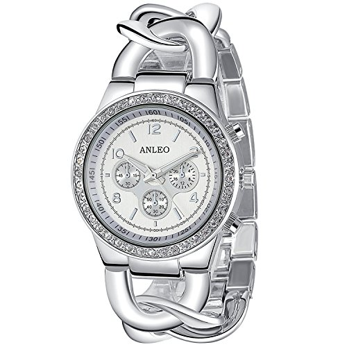 anleowatch 1 Quarz Uhren Damen Armbanduhr Stahl Frauen Kleid Strass ArmbandUhren 5498 silver