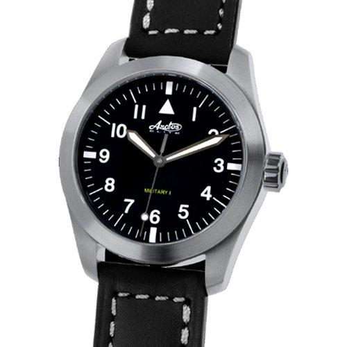 Automatikuhr ETA 2824 Arctos Military I Fliegeruhr Saphirglas Lederband schwarz