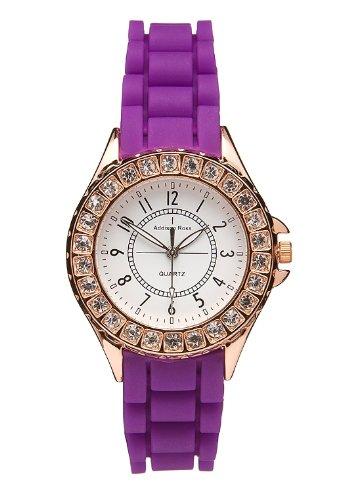 Addison Ross Unisex Armbanduhr Rose Gold Analog Silikon violett WA0091