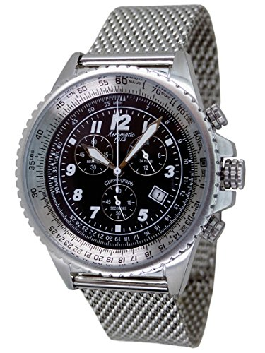 Aeromatic 1912 3 Augen Stopp Chronograph Milanaise Band A1222MIL