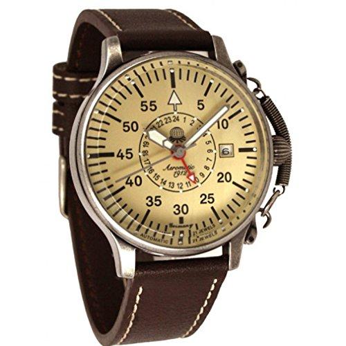 Aeromatic Herren Armbanduhr Automatik 17 Jewels antik Gesicht und Zifferblatt mit Krone und spring bar