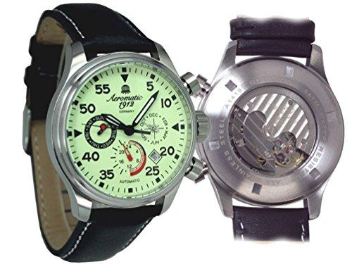 Aeromatic Herren Automatik Uhr mit Vanille Zifferblatt und Lederband