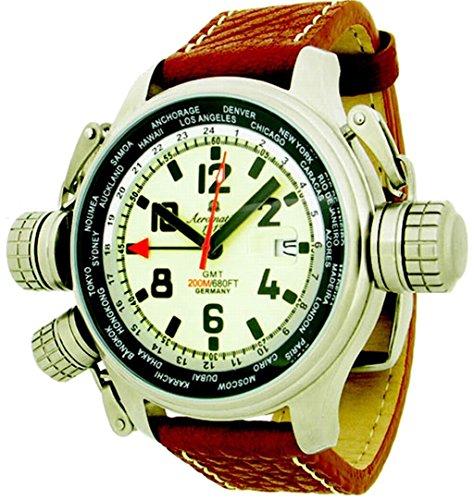 Ronda Aeromatic GMT Uhr Massiv und imposante Drehgelenk interne drehbar um Zeitzonen