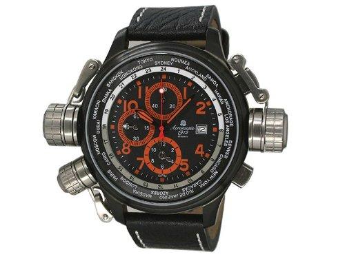 Aeromatic Militaer XXL Alarm Worldtimer Uhr A1349