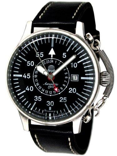 Automatik Flieger Uhr 24h Anzeige Spez Feder Kronensicherung louminous Zeiger A1395
