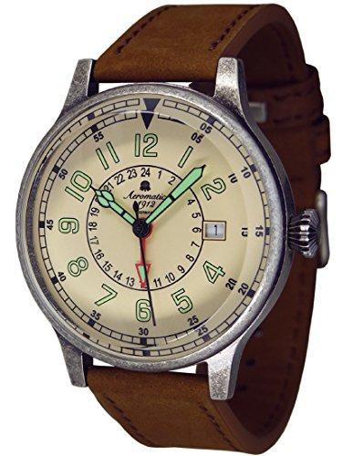 Retro Militaer Flieger Uhr 24h GMT Datum Ronda Werk A1429