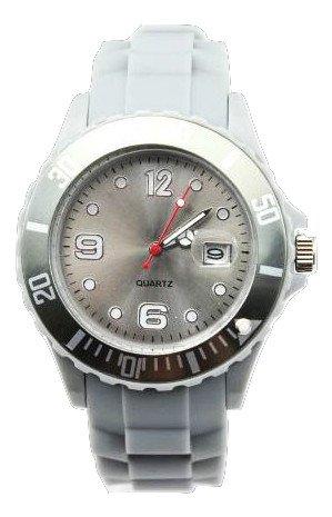 HOT Silikon Uhr Uhren L Breit 4 3 cm mit Datum Grau Trend Watch Style Sport Verfuegt ueber Luxurioese Geschenktuete von AccessoriesBySej Von AccessoriesBySej TM
