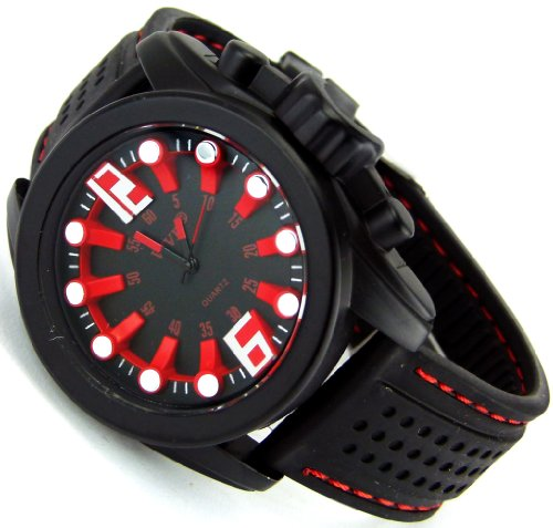 Sportliche Robuste 3D Design Armbanduhr fuer Herren Damen Damenarmbanduhr Herrenarmbanduhr Rote Ubootuhr Red Rot Edition in Edlen Matt Schwarz Titan Farben Space Alien Girl Assassin Selektion