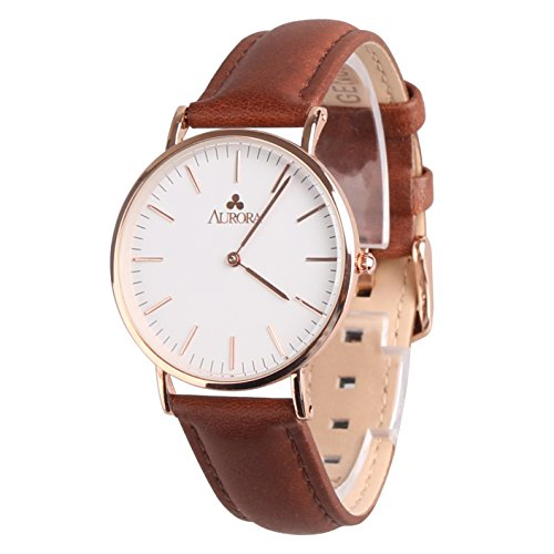 Aurora Herren Metall Retro Casual runden Zifferblatt Quarz Analog Armbanduhr mit Braun Leder band rose Gold