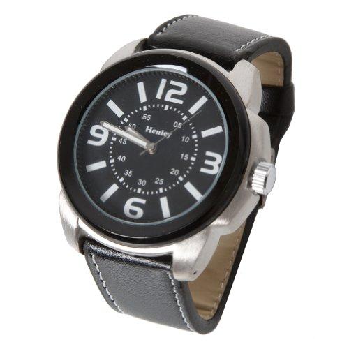 Accessoryo Retro Kreisfoermigen Henley Uhr Mit Sichtbaren Naehte Auf Schwarzem Leder Effekt Band