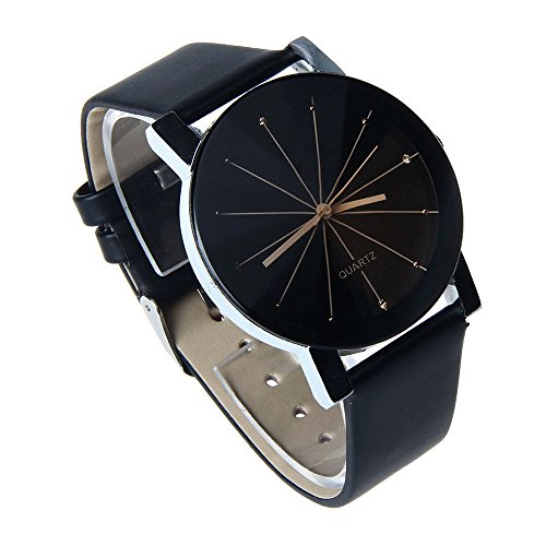 ASAMO Damen mit Kunstleder Armband Quarzuhr schwarz NEU