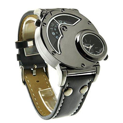 aposon Herren Dual Time Quarz Analog Armbanduhr mit einzigartige Dual Zifferblatt Design Stahl Fall Leder Band zwei Zeit Zone Schwarz