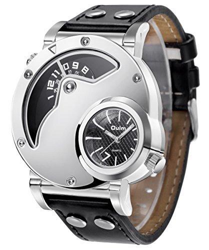 aposon Herren Dual Time Einzigartiges Design Quarz Analog Handgelenk Casual Armbanduhr mit Edelstahl Fall angenehmer PU Leder Band zwei Zeit Zone unterstuetzt Silber