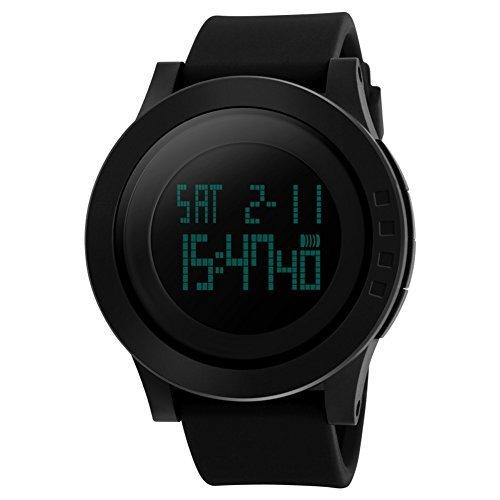 Herren Electronic s Digital Sport Armbanduhr Multifunktions Militaer 24h Zeit Quarz Wasserdicht LED Hintergrundbeleuchtung mit schlichtes Design